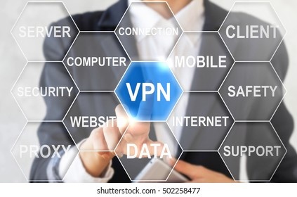 Businessman touched vpn sign. Virtual private network concept word cloud background. Business internet technology, web tag. Hotline, tunneling, dedicated line, network, connectivity, communication.