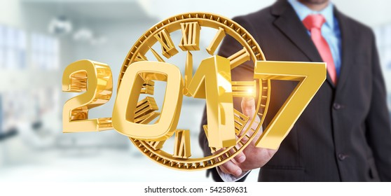 Businessman touching 2017 3D rendering text with clock with his finger