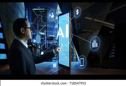 "Businessman touching ""AI"" word on screen of digital booth with fintech infographic. Hi-tech business concept ."