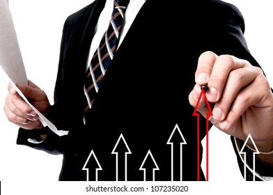 Businessman Touching arrow lift up