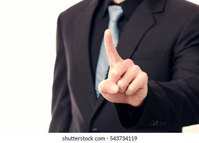 Businessman touching blank screen  interface
