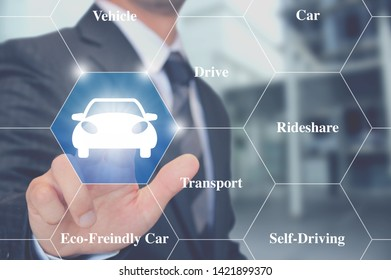 Businessman Touching a car vehicle icon.