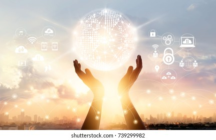Businessman touching circle global network connection and data exchanges worldwide on city sunset background, communication and technology concept