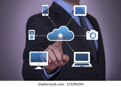 Businessman Touching Cloud Button with Finger