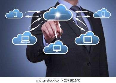 Businessman Touching Cloud Computing Concept