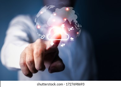 Businessman touching cloud computing network to connecting data information on wireless internet network 5G technology, Social Media, Digital E-commerce.