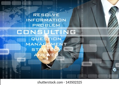 Businessman touching CONSULTING sign
