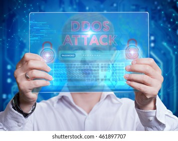 Businessman touching a dashboard with key performance indicator displayed with hologram on a virtual screen. DDOS attack.