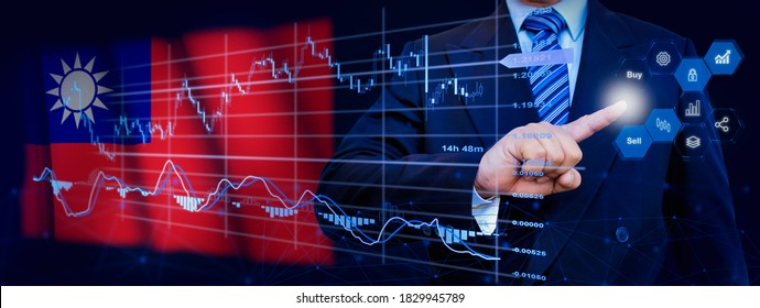 Businessman touching data analytics process system with KPI financial charts, dashboard of stock and marketing on virtual interface. With Taiwan flag in background.