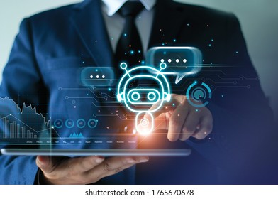 Businessman touching digital chat bot on tablet for provide access to information and data in online network, robot application and global connection, AI, Artificial intelligence.