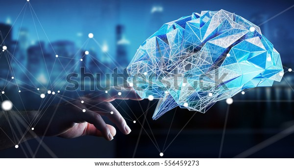 Businessman touching digital human brain with cell and neurons activity 3D rendering