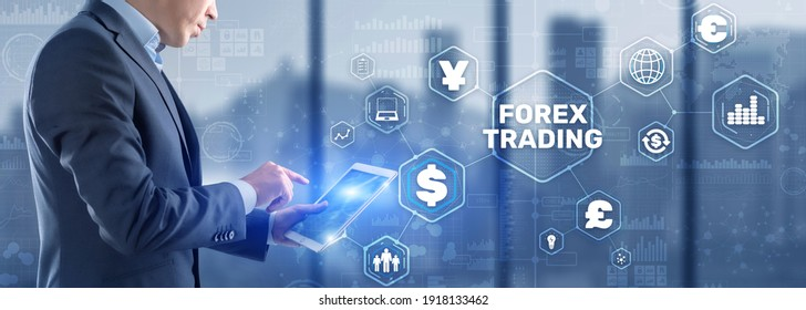 Businessman touching finger on the virtual screen and selecting Forex Trading