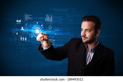Businessman touching future web technology buttons and icons