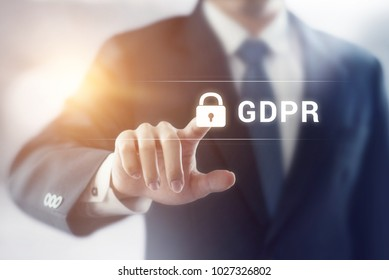 Businessman touching GDPR (general data protection regulation), Internet security.