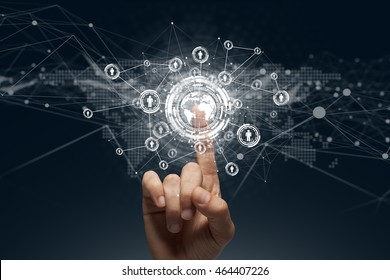 Businessman touching a global connection,communications concept