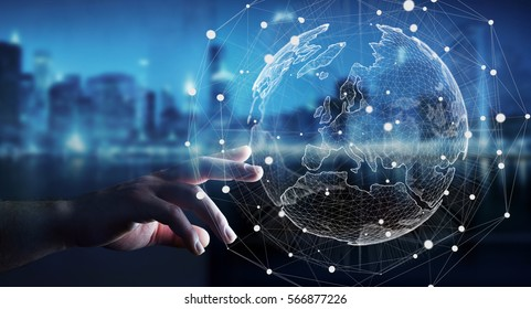 Businessman touching global network and data exchanges over the world 3D rendering - Shutterstock ID 566877226