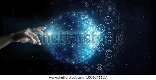 Businessman touching global network and data customer connection on space background