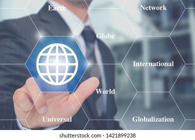 Businessman Touching a globe button