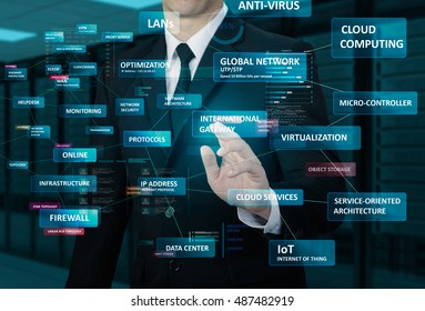 businessman touching glow network terminology