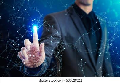 businessman touching glow virtual network