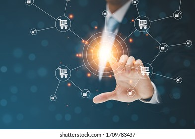 Businessman Touching in graph Screen Icon of media screen,Technology Process System Business concept.