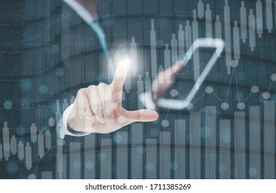 Businessman Touching in graph Screen Icon of a media screen, Technology Process System Business concept.