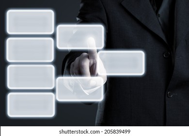 Businessman touching hierarchy infogram graphics on virtual touchscreen with copy space