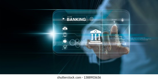 Businessman touching icon online banking and icon network connection, online payments, shopping and digital technology business on virtual screen dark blue background.