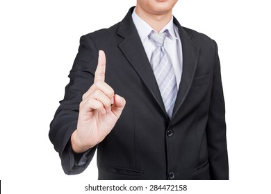 businessman touching an imaginary screen with clipping path isolated on white background
