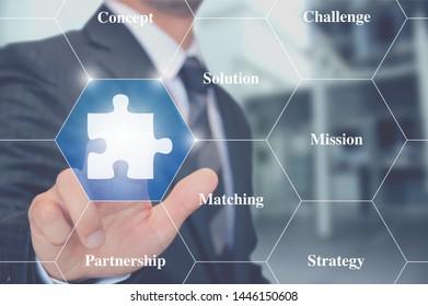 Businessman touching jigsaw puzzle button