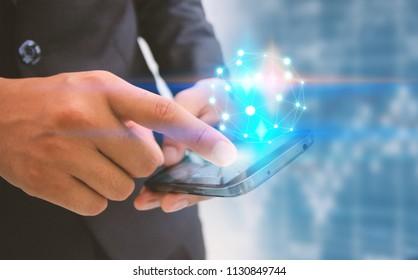 Businessman touching nodes connected. Business connection concept