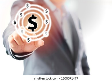 Businessman touching on dollar sign currency.US dollar is main and popular currency of exchange in the world.Investment and saving concept.