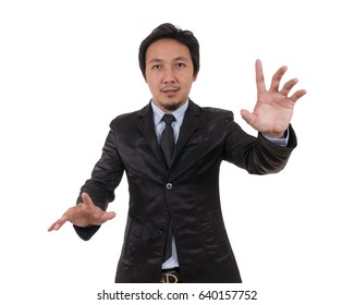 Businessman touching on white background, include clipping path