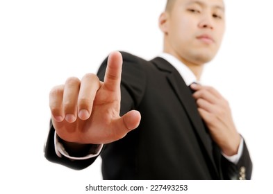 Businessman Touching on the whiteboard, Selective focus on the finger.