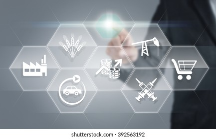 Businessman touching the screen about sectoral consept