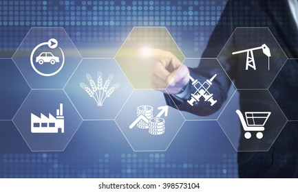Businessman touching the screen about sectoral  concept