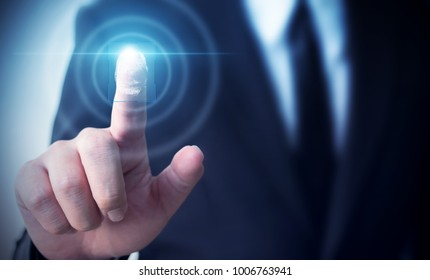 Businessman touching screen scan fingerprint biometrics identity to confirm, Protection security data concept
