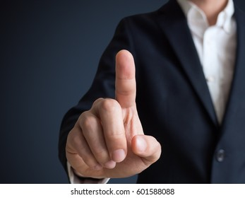 businessman touching and select concept with dark background