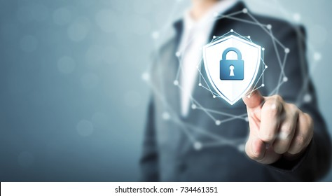 Businessman touching shield protect icon, Concept cyber security safe your data
