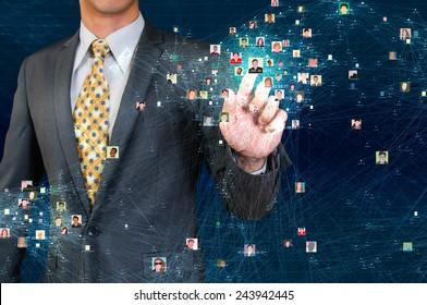businessman touching social network visualization