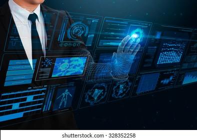 businessman touching technology interface