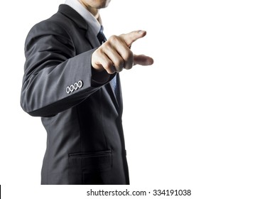 Businessman Touching Transparent Screen