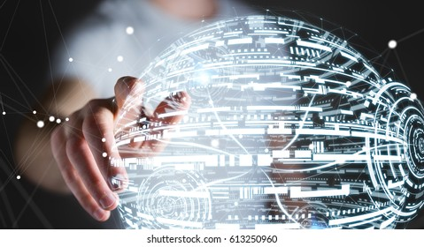 Businessman touching white and blue hologram sphere 3D rendering