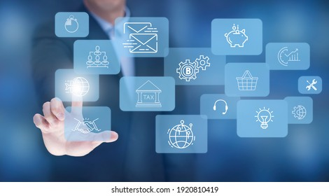 Businessman touchscreen on the graph Screen Icon of a media screen, Technology Process System Business with Communication and marketing concept, Team success, HR Human, Business success