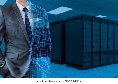 businessman transforming to 3d wire frame with server room background