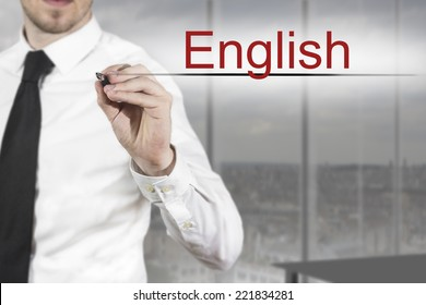 businessman translator in office writing english