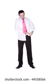Businessman Tucking His Shirt In Getting Ready - Isolated Background