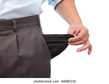 Businessman turning his empty pockets inside out, isolated on white background