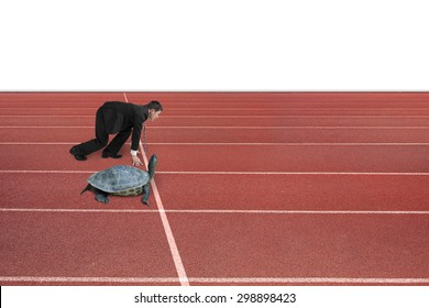 Businessman and turtle are ready to race on running track, isolated on white background. Turtle race competing metaphor concept.