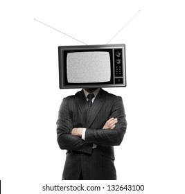 businessman with tv head on a white background